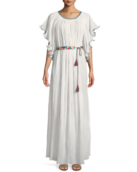 Talitha Collection Zuri Kimono-Sleeve Belted Cotton Long Dress