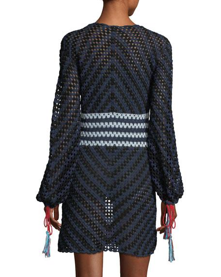 Long-Sleeve Scoop-Neck Hand Crochet Mini Dress