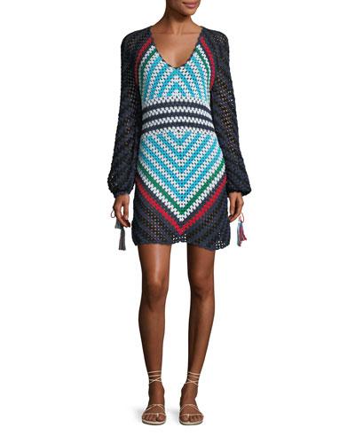 2148dca6cbe Long-Sleeve Scoop-Neck Hand Crochet Mini Dress