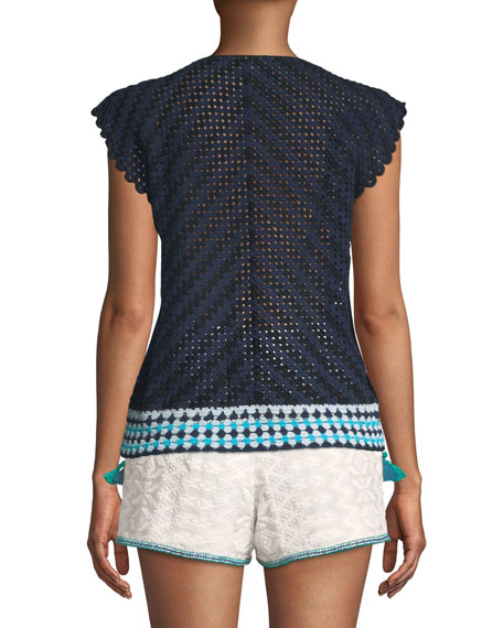 Cap-Sleeve Lace-Up Hand Crochet Top