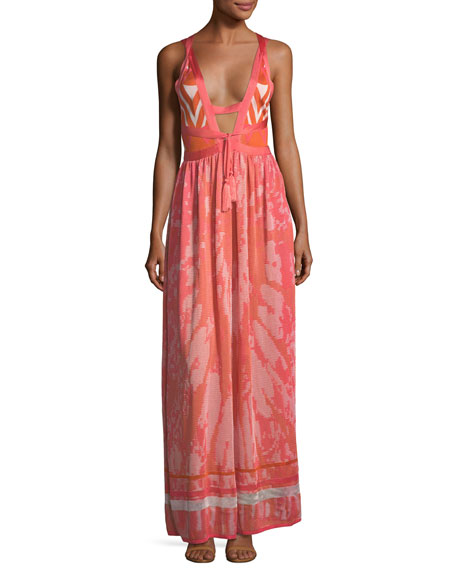 Talitha Collection Plunging Tie-Dye Camisole Maxi Dress