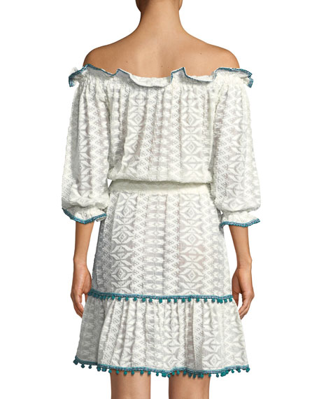 Leya Off-the-Shoulder Embroidered Cotton Gauze Dress