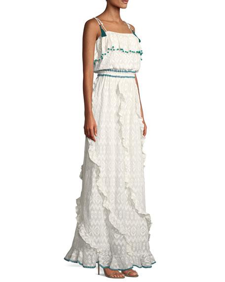 Tonal Embroidered Asymmetric-Ruffle Maxi Dress with Pompom Trim