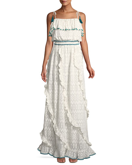 Tonal Embroidered Asymmetric-Ruffle Maxi Dress with Pompom Trim