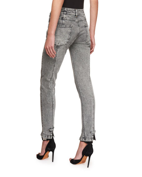 High-Waist Lightning Bolt Straight-Leg Jeans