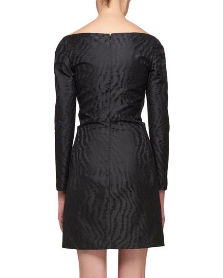 Off-the-Shoulder Fitted Silk Jacquard Short Dress