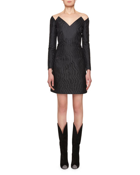 Givenchy Off-the-Shoulder Fitted Silk Jacquard Short Dress