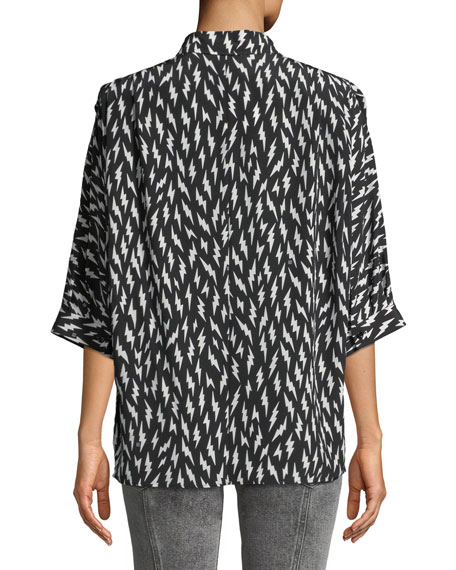 Short-Sleeve Button-Down Lightning-Bolt Silk Blouse