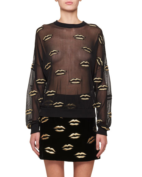 Givenchy Long-Sleeve Lurex?? Lip Embroidery on Tulle Blouse