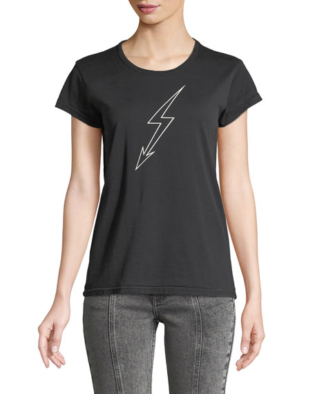 Lightning-Bolt World Tour Crewneck Short-Sleeve Cotton Jersey T-Shirt