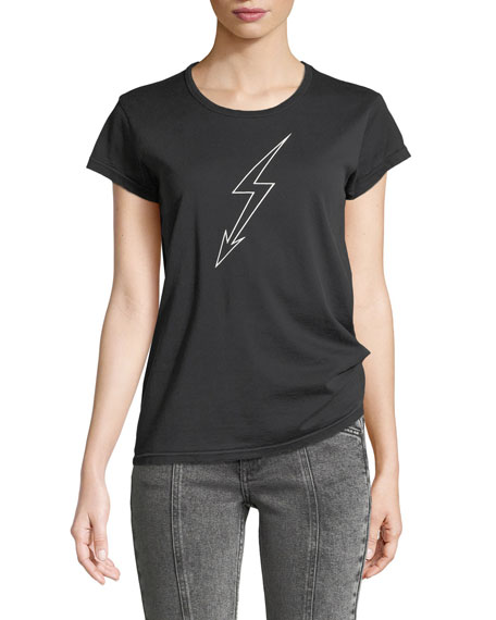 Givenchy Lightning-Bolt World Tour Crewneck Short-Sleeve Cotton