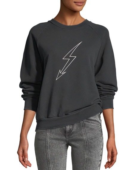 Givenchy Lightning-Bolt World Tour Crewneck Jersey Sweatshirt
