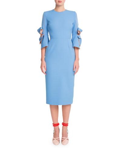 Bow-Embellished Sheath Midi Dress