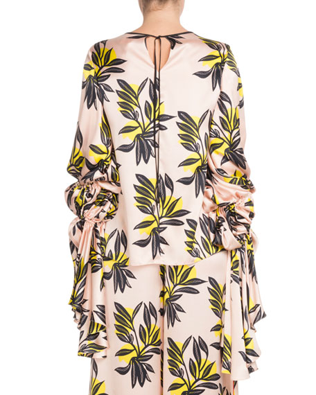 Poet-Sleeve Round-Neck Floral-Print Silk Blouse
