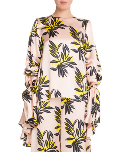Poet-Sleeve Round-Neck Floral-Print Silk Blouse