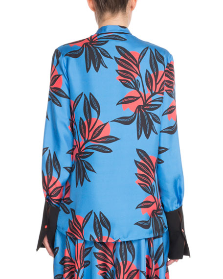 Floral-Print Button-Front Silk Blouse