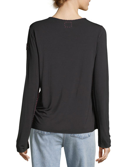 Crewneck Long-Sleeve Top with Topstitching & Beaded Trim