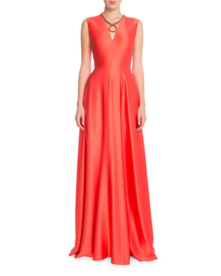Rope-Detail Sleeveless Silk Gown