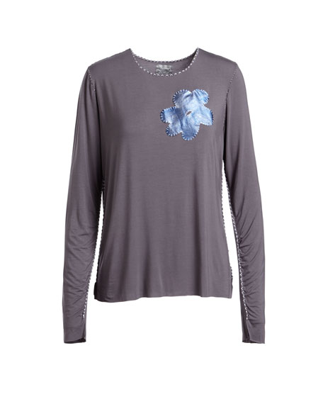 Long-Sleeve Jersey T-Shirt with Flower Detail