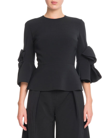 Elbow-Sleeve Peplum Crepe Top