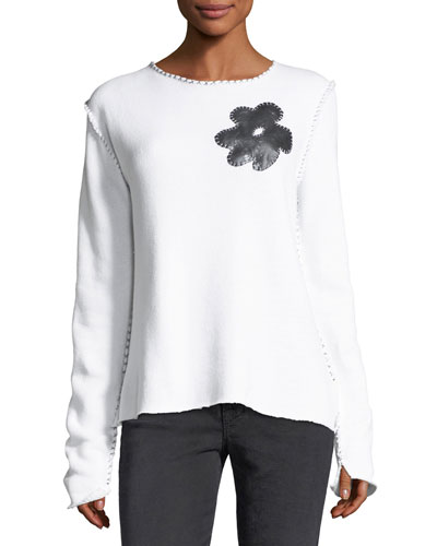 Contrast-Stitched Sweatshirt with Flower Detail