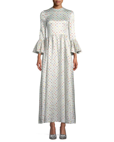 Trumpet-Sleeve Multicolor Polka-Dot Lamé Evening Gown