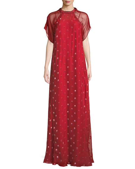 Short-Sleeve Rosebud Embroidered Column Silk Evening Gown