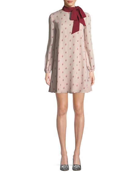 Long-Sleeve Rosebud Silk Georgette Dress w/ Scarf