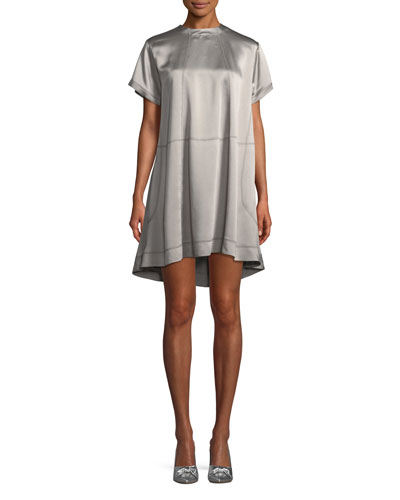 High-Neck Hammered-Satin Oversized Dress