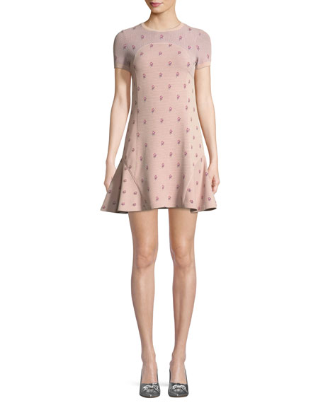 Crewneck Short-Sleeve Rose-Jacquard Fitted Dress