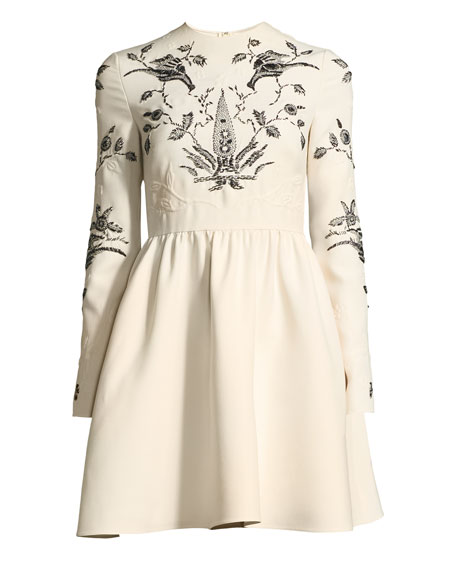 Long-Sleeve Fit-and-Flare Mini Cocktail Dress with Lace Trim