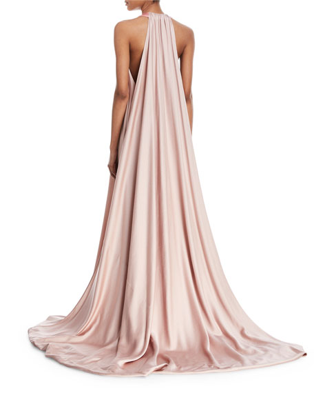 Sleeveless Deep-V Colorblock Evening Gown