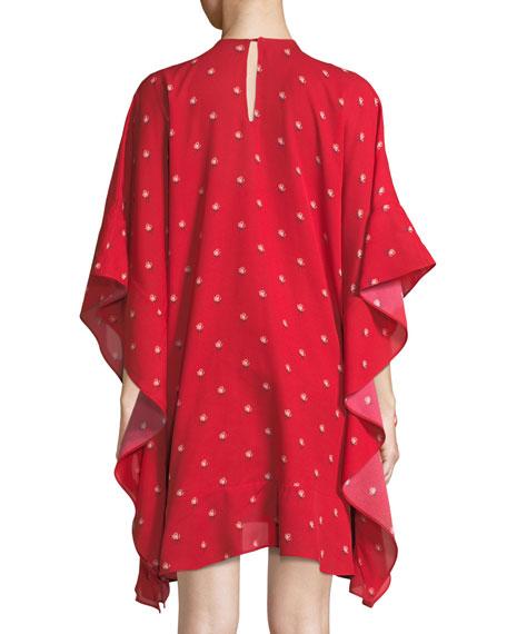 Long-Sleeve Rosebud Print Silk Tunic Dress