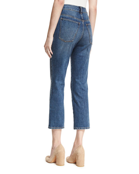 High-Waist Cropped Flare Jeans