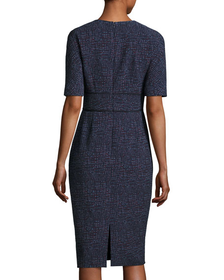 Printed Half-Sleeve Sheath Dress, Navy/Multi