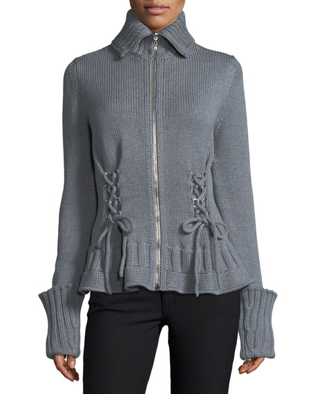 Alexander McQueen Chunky Lace-Up Zip-Front Sweater