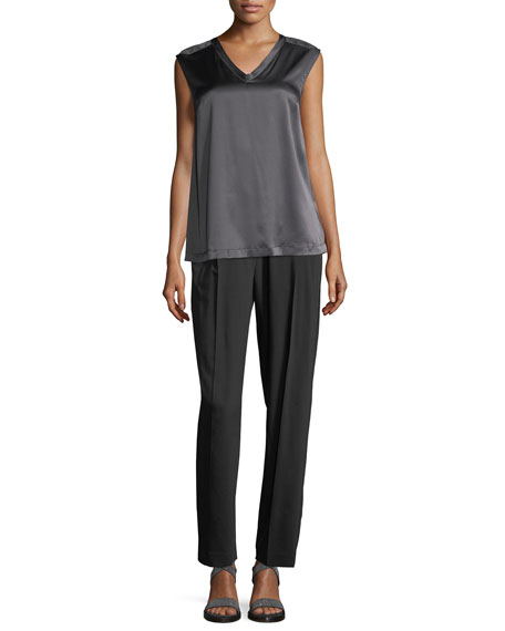 Stretch-Wool Pull-On Pants