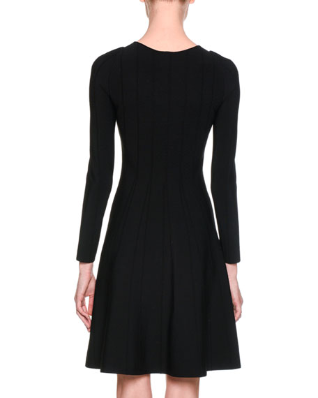 Long-Sleeve Jersey A-Line Dress