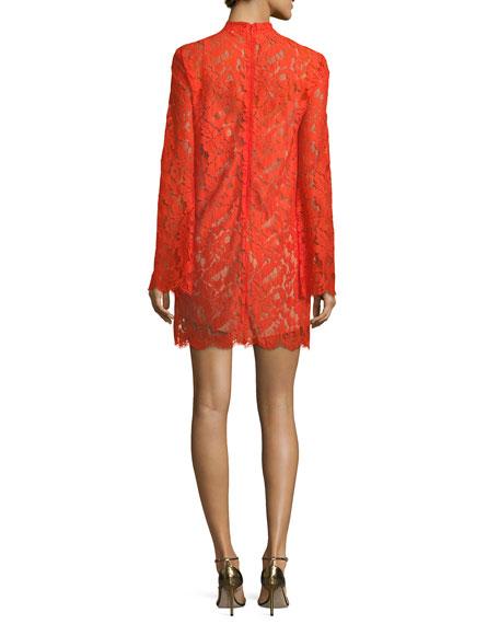 Cayla Long-Sleeve Lace Handkerchief-Hem Dress