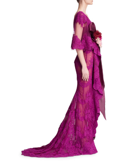 Corded Lace Evening Gown with Cascading Ruffle Drape