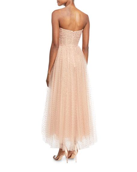 Sweetheart-Neck Strapless Golden-Dot Tulle Cocktail Dress