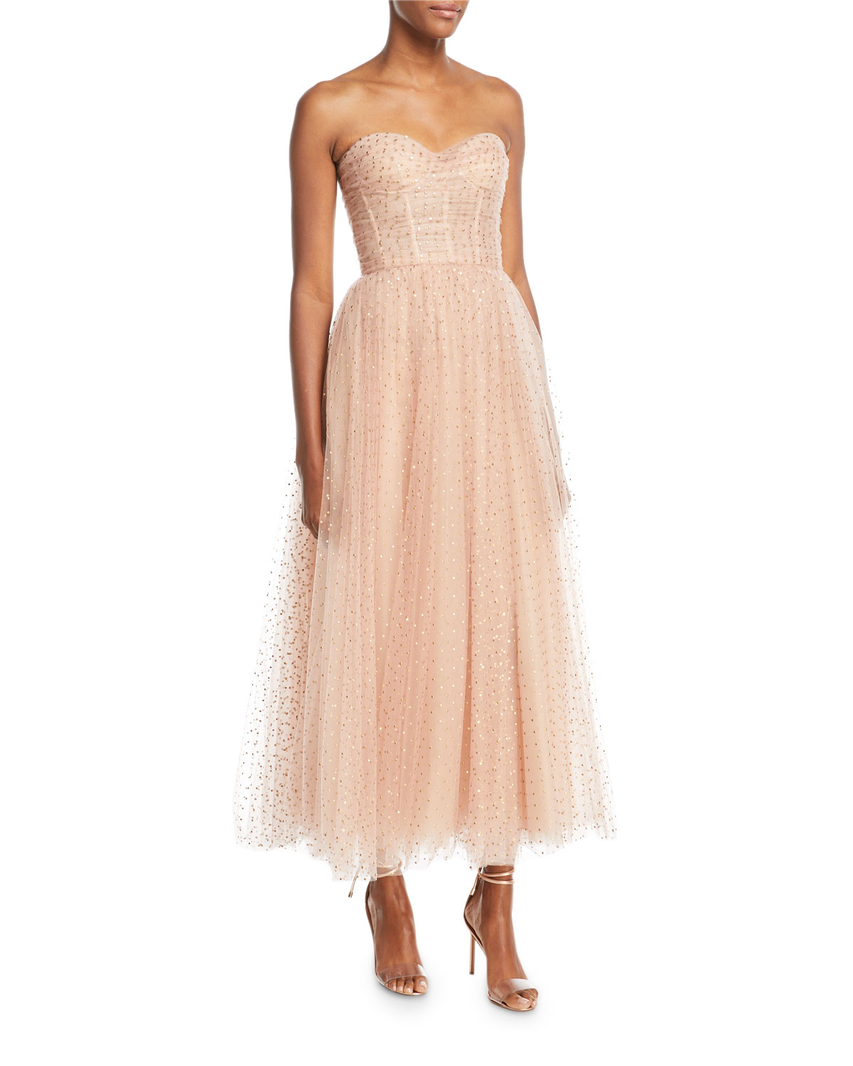 Monique Lhuillier Sweetheart-Neck Strapless Golden-Dot Tulle ...