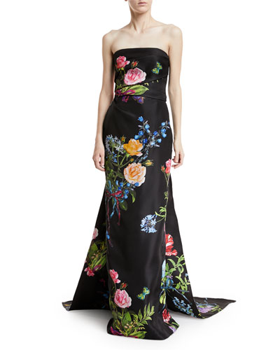 Strapless Floral-Print Draped Evening Gown with Train
