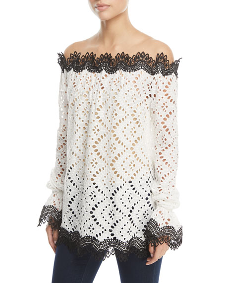 Off-Shoulder Lace Top with Contrast Trim