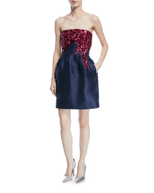 60b39b563b14 Oscar de la Renta Strapless Fit-and-Flare Silk Faille Cocktail Dress with  Sequins
