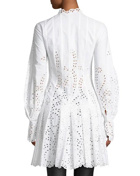 Long-Sleeve Button-Front Eyelet Shirtdress