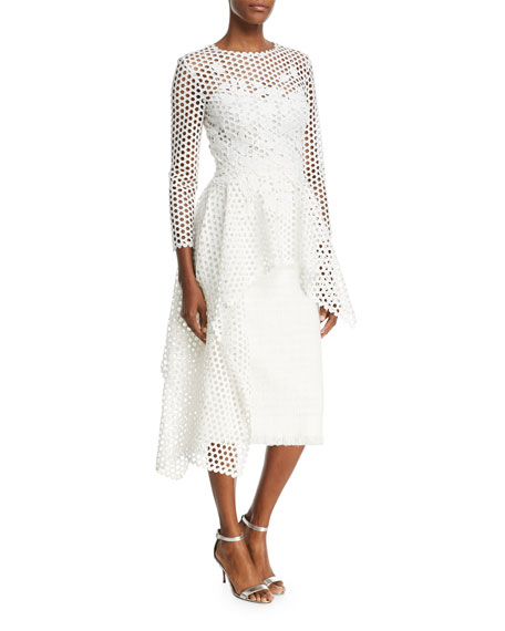 Oscar de la Renta Long-Sleeve Open-Lace Blouse with