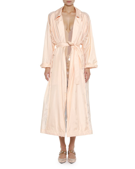 Studded Light Silk Robe Duster Coat