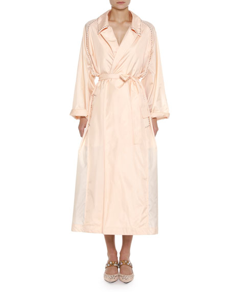 Bottega Veneta Studded Light Silk Robe Duster Coat