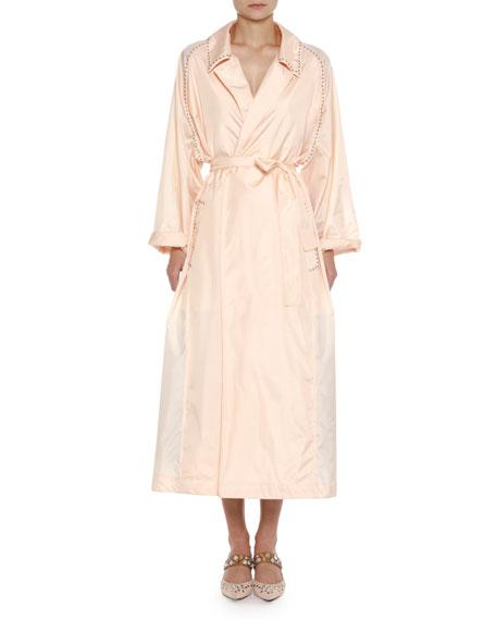 Studded Light Silk Robe Duster Coat